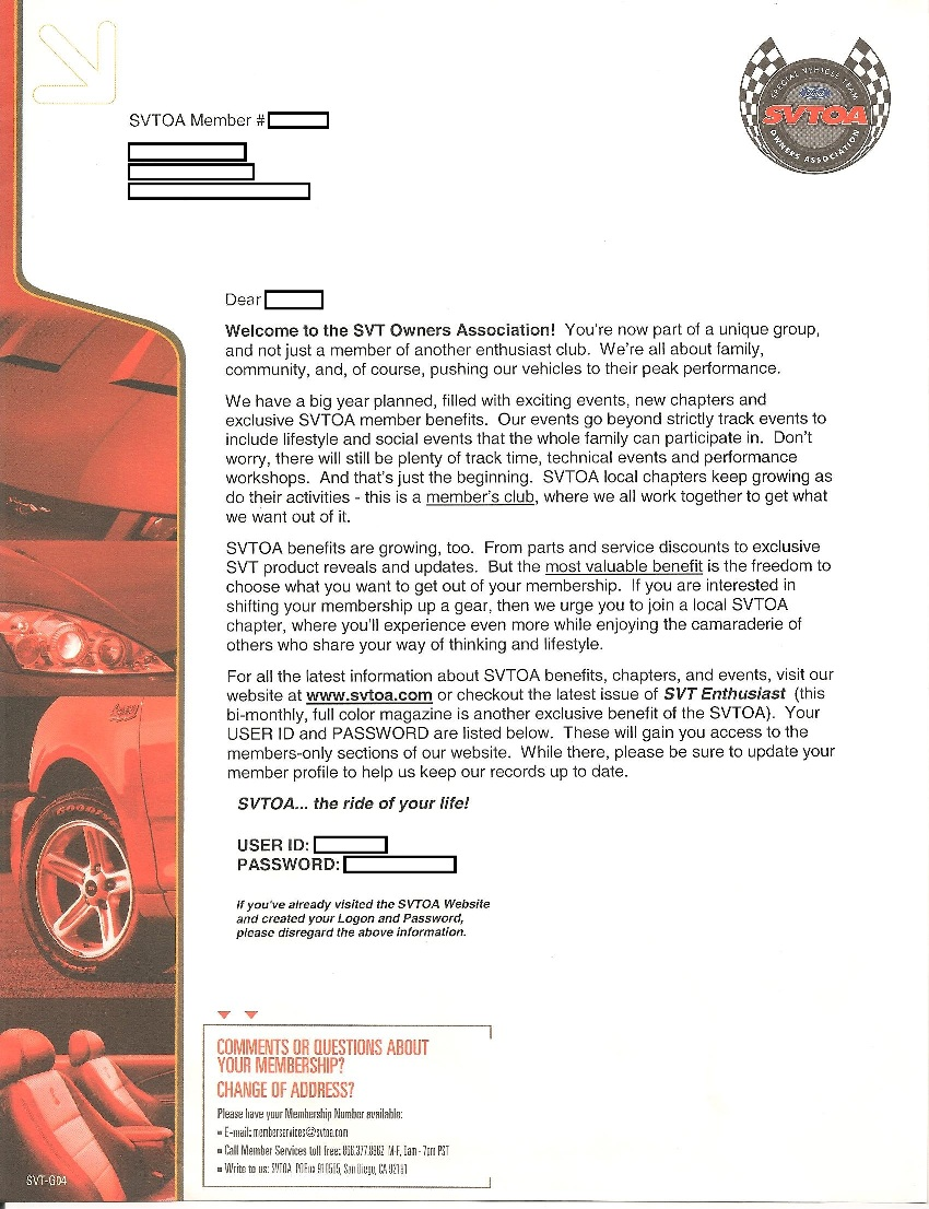 Svt Documents 1996 Mustang Cobra Convertible Top Wiring Diagram For 2003 New Owners Were Also Given Complementary Memberships To The Association Svtoa And Team Ford Racing Since Absorbed In